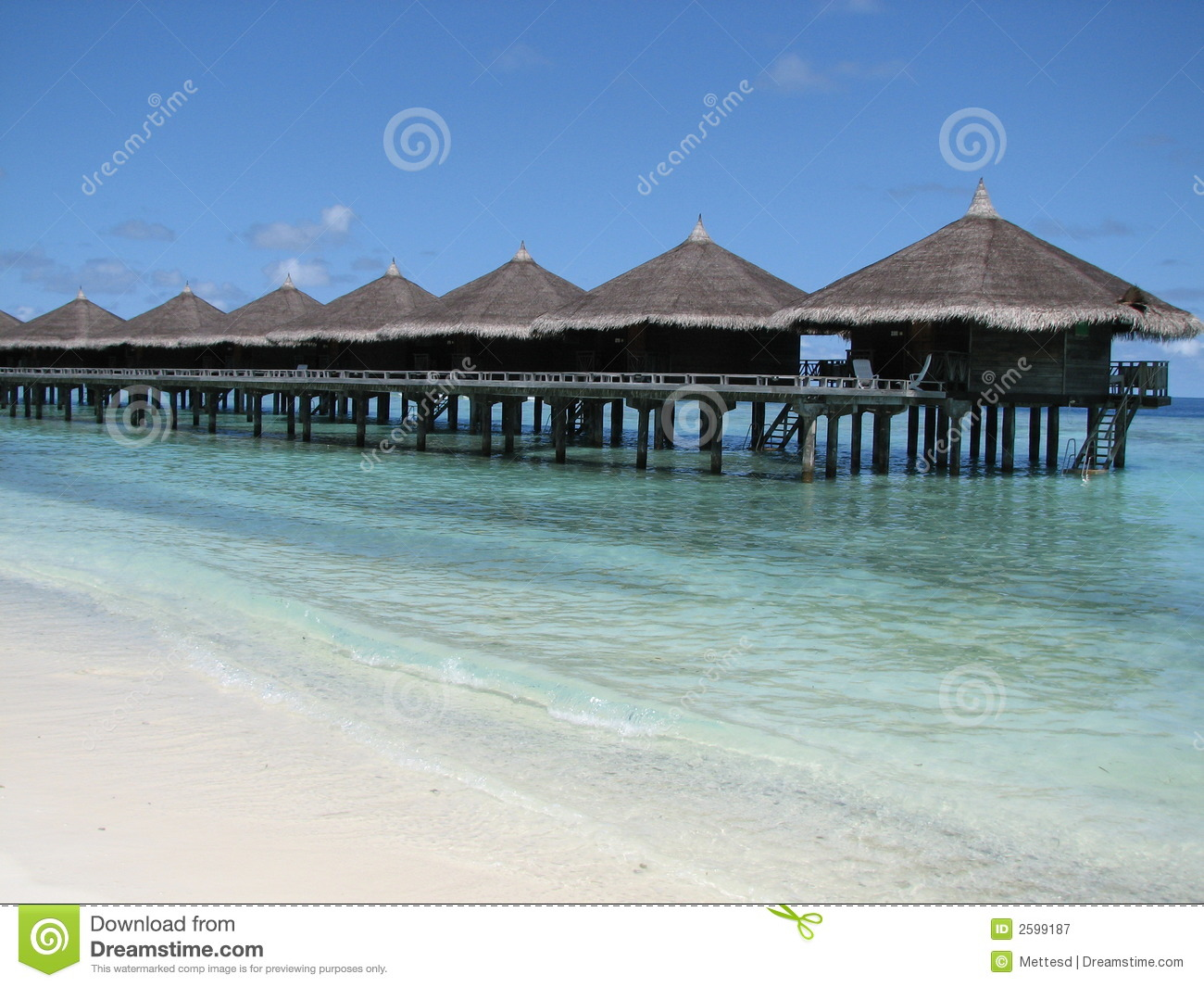 Water Bungalows The Maldives Royalty Free Stock