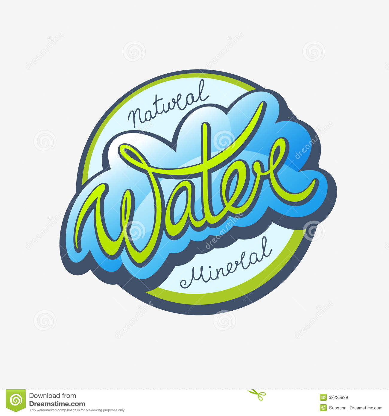 Water calligraphic label royalty free stock images image for Mineral water label template