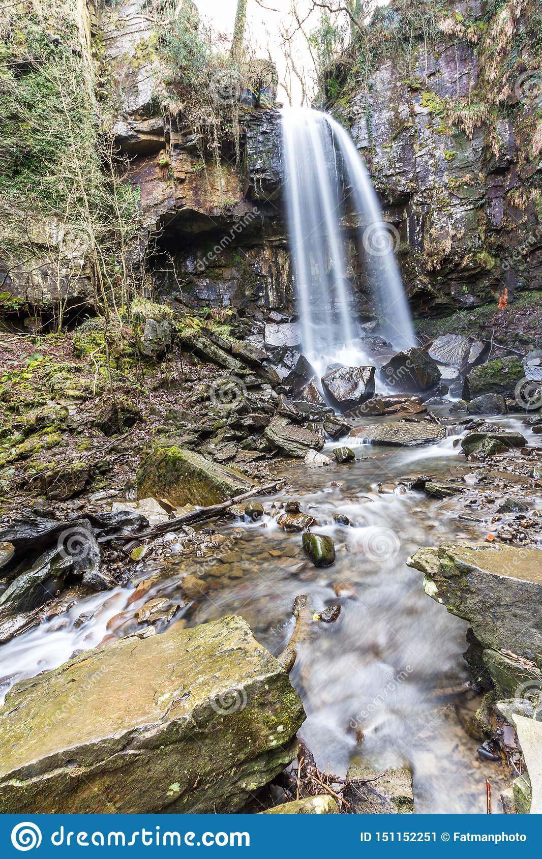 Water cascading down beautiful waterfall, Melincourt, portrait, wide angle