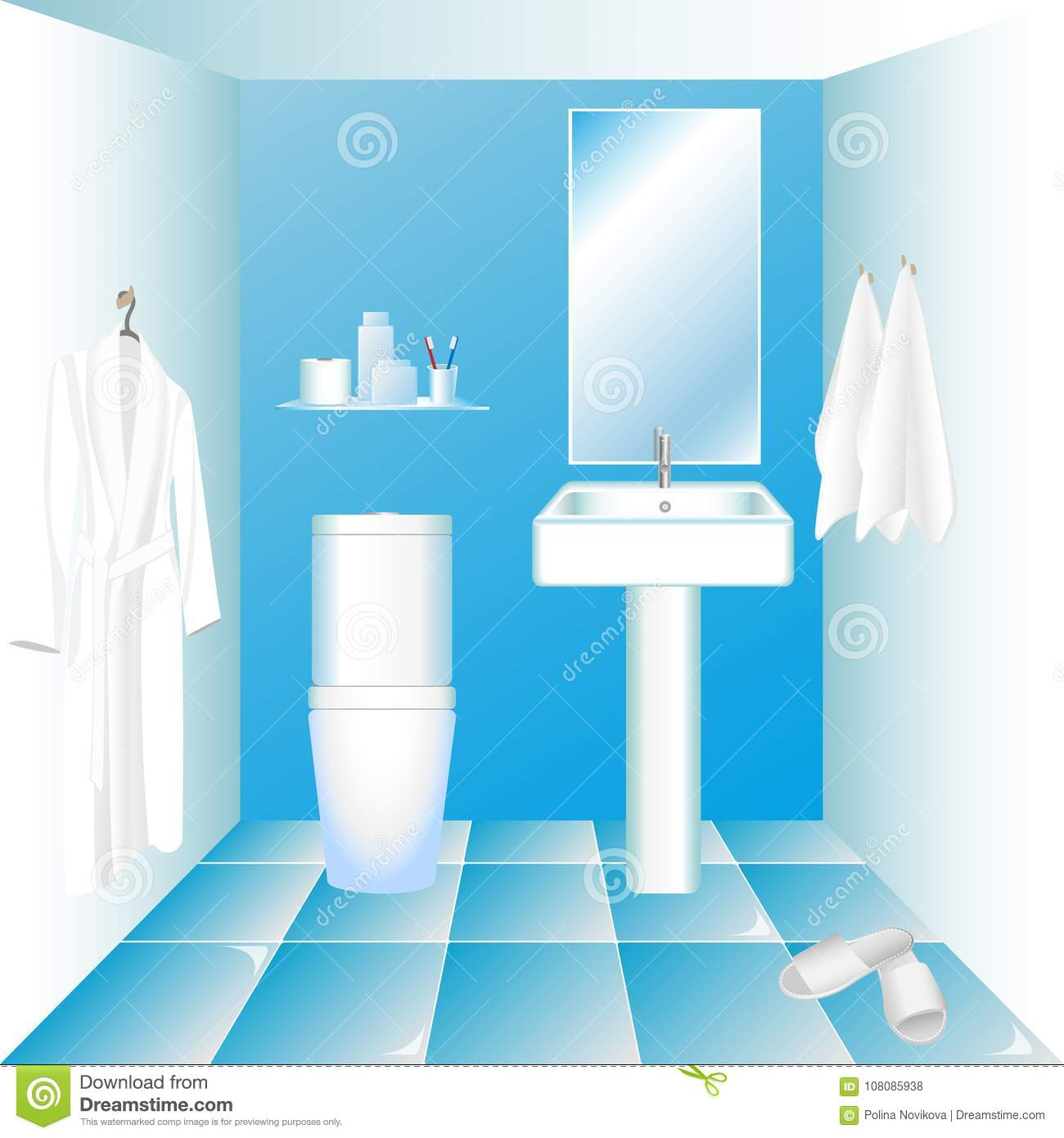 Water Closet Interior With Lavatory Pan, Wash Sink, Mirror And ...