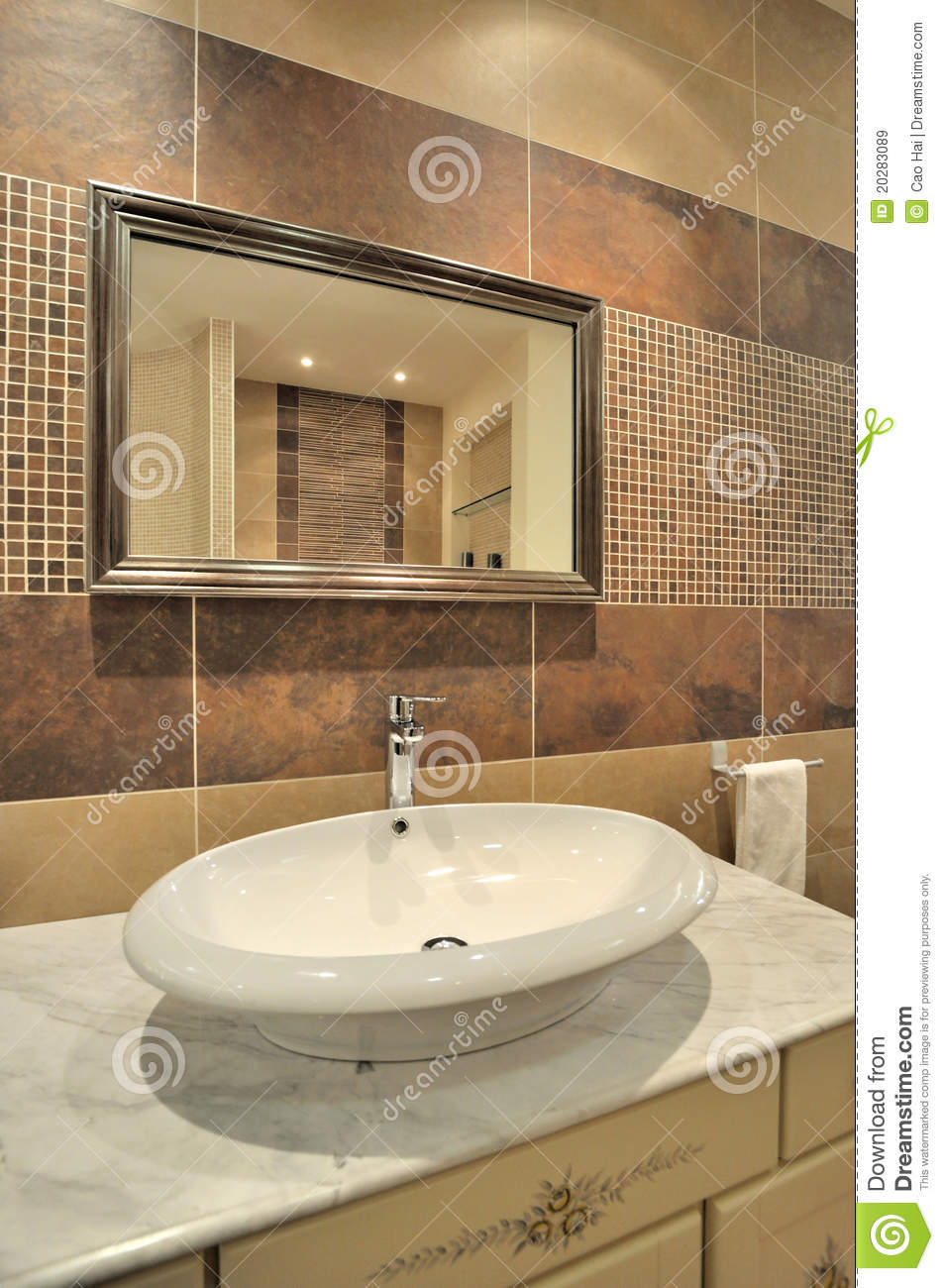 Water Closet And Mirror In Washroom