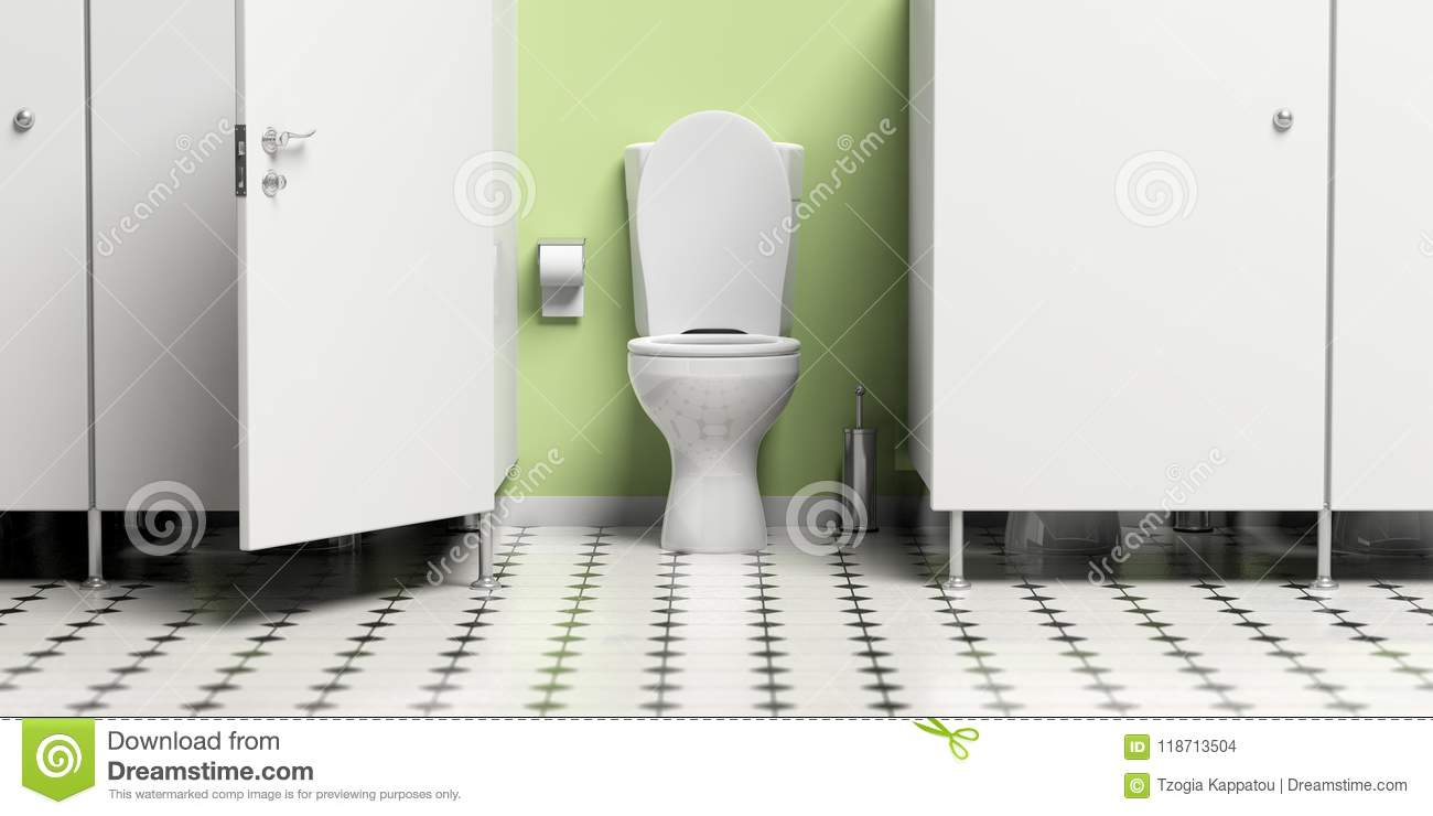 Water Closet With Open Door And White Toilet Bowl 3d Illustration
