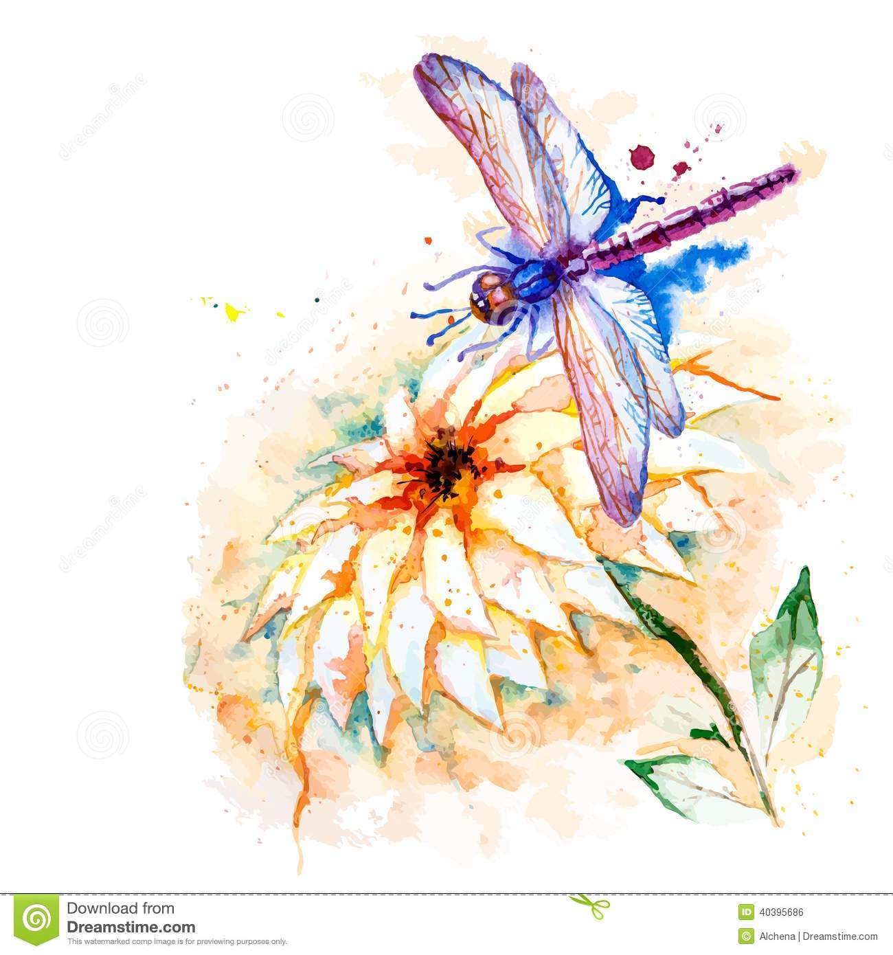 Water Color Dragonfly With Lily Flower Stock Vector