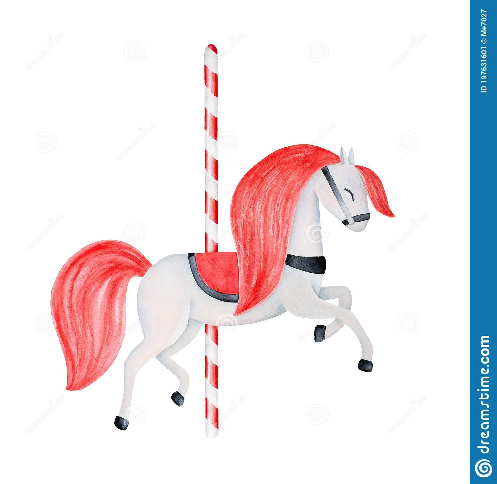 Water Color Sketch Of Joyful Carousel Horse With Bright Red And White Striped Pole Stock Illustration Illustration Of Cartoon Fantasy 197631601