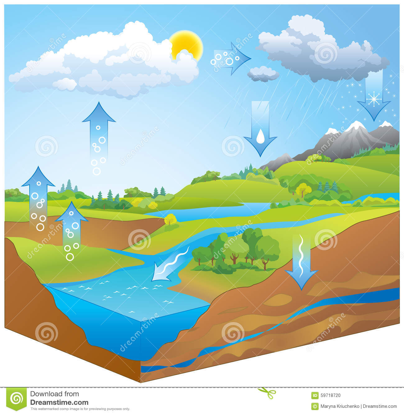 water cycle. vector diagram stock vector - illustration of current
