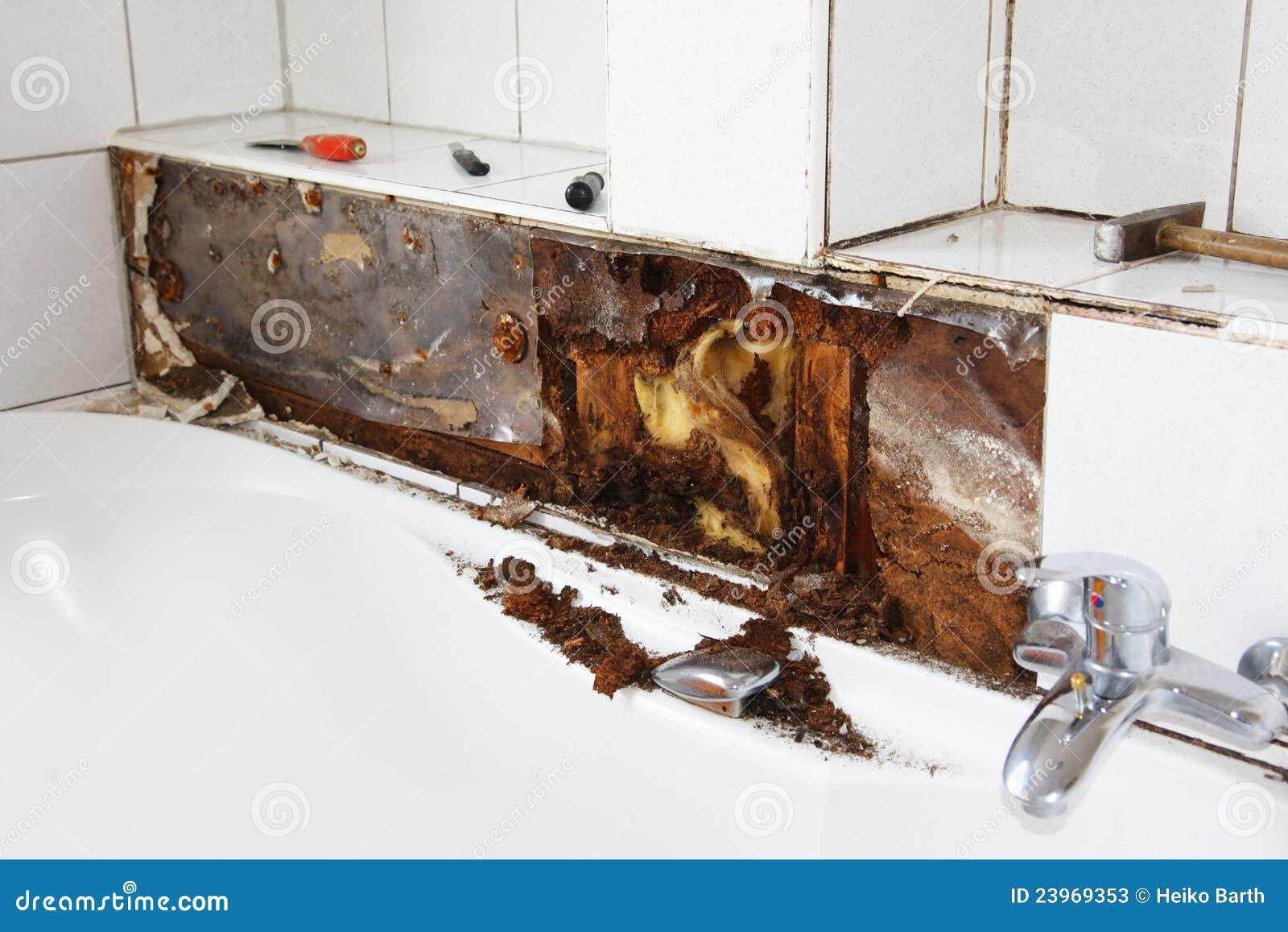 Water damage around the bathtub