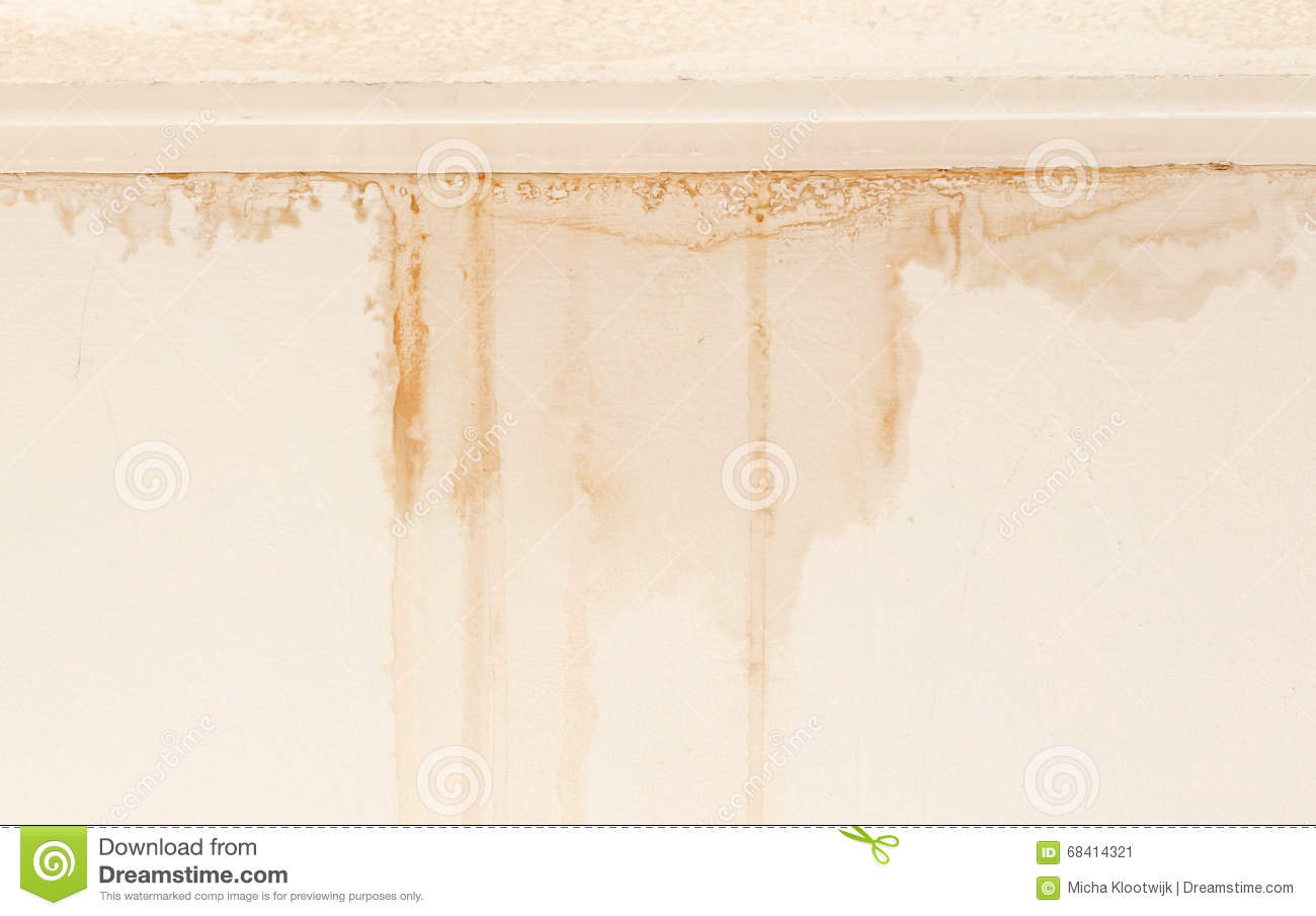 Water Damaged Ceiling And Wall Stock Image Image Of