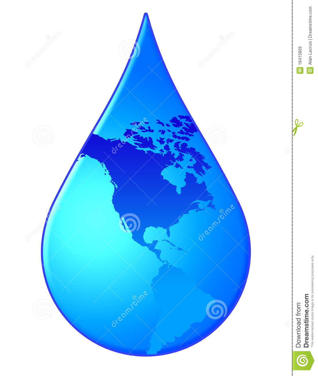 Water drop with the americas in it (need for water concept).