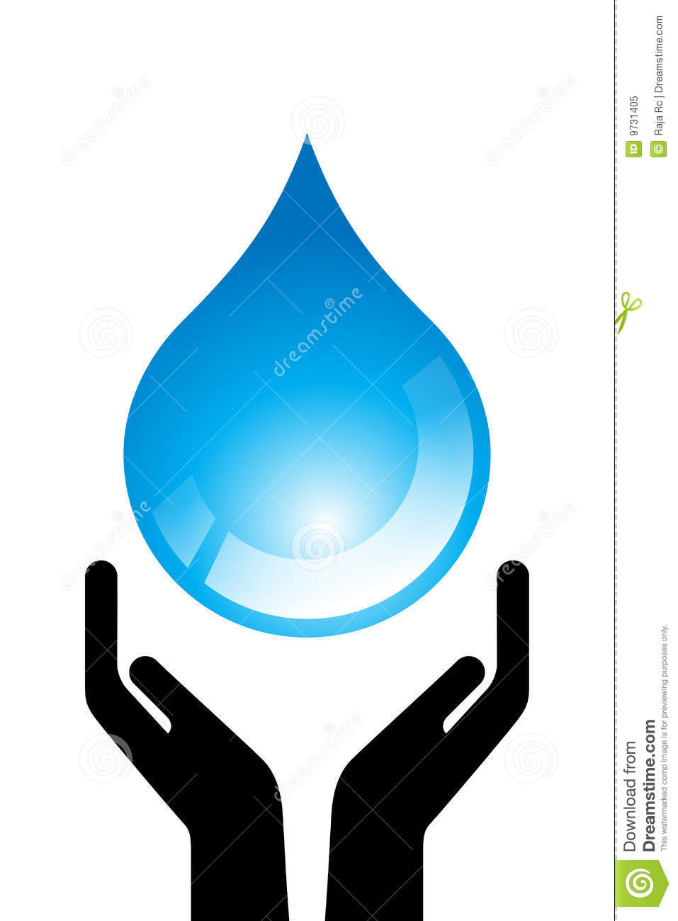 Water drop in open hand on white background - save water concept.