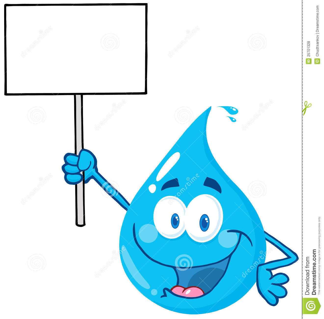 Water Drop Character Holding Up A Blank Sign Stock Vector ...