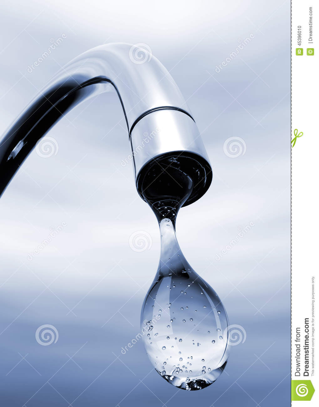 Water Drop Coming Out Of Tap Stock Illustration Image