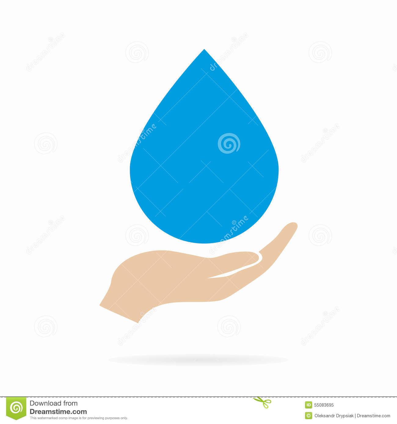 water drop in hand logo or icon stock vector image 55083695