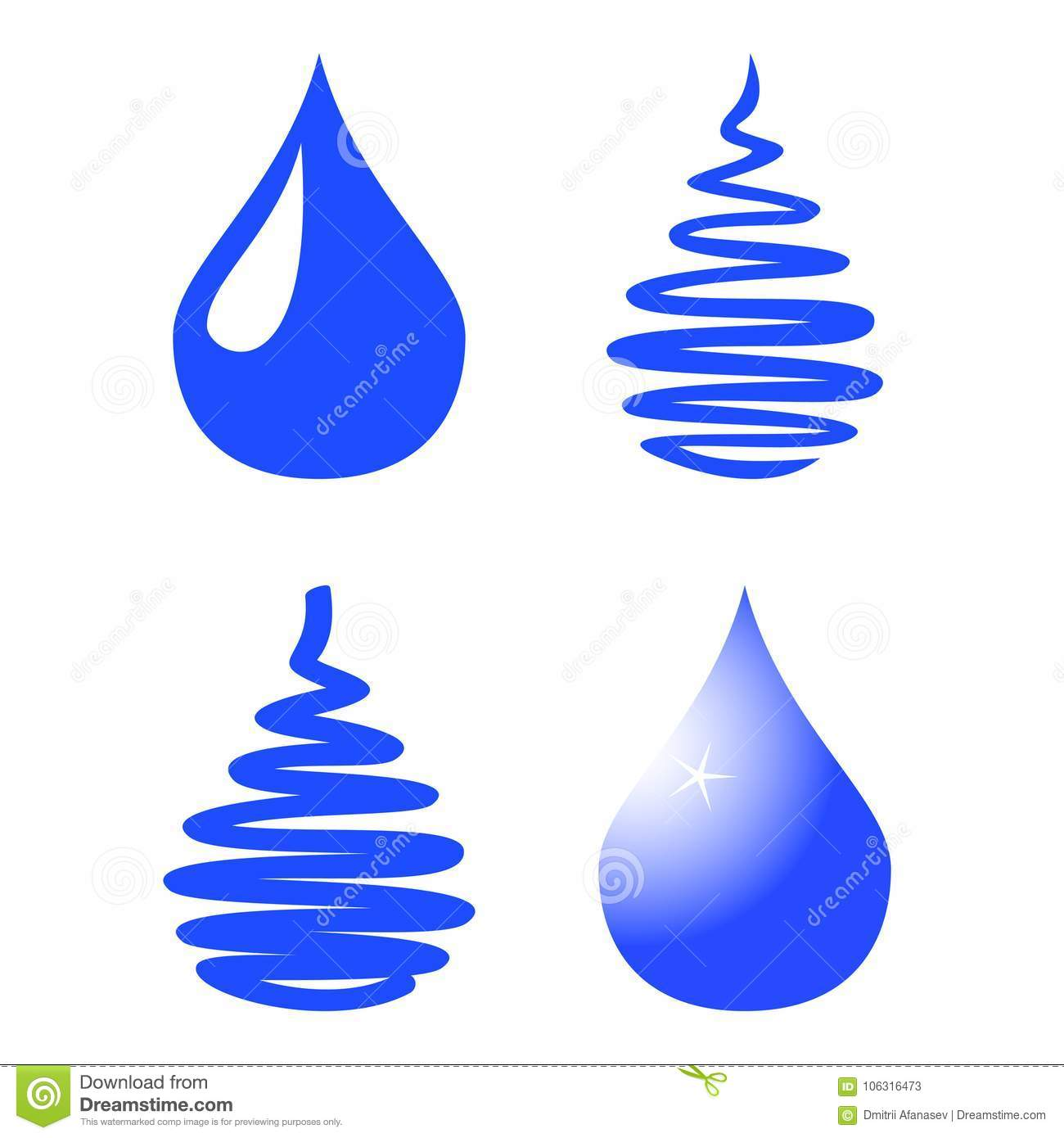 Water drop icon set isolated on white background. Vector Illustration.