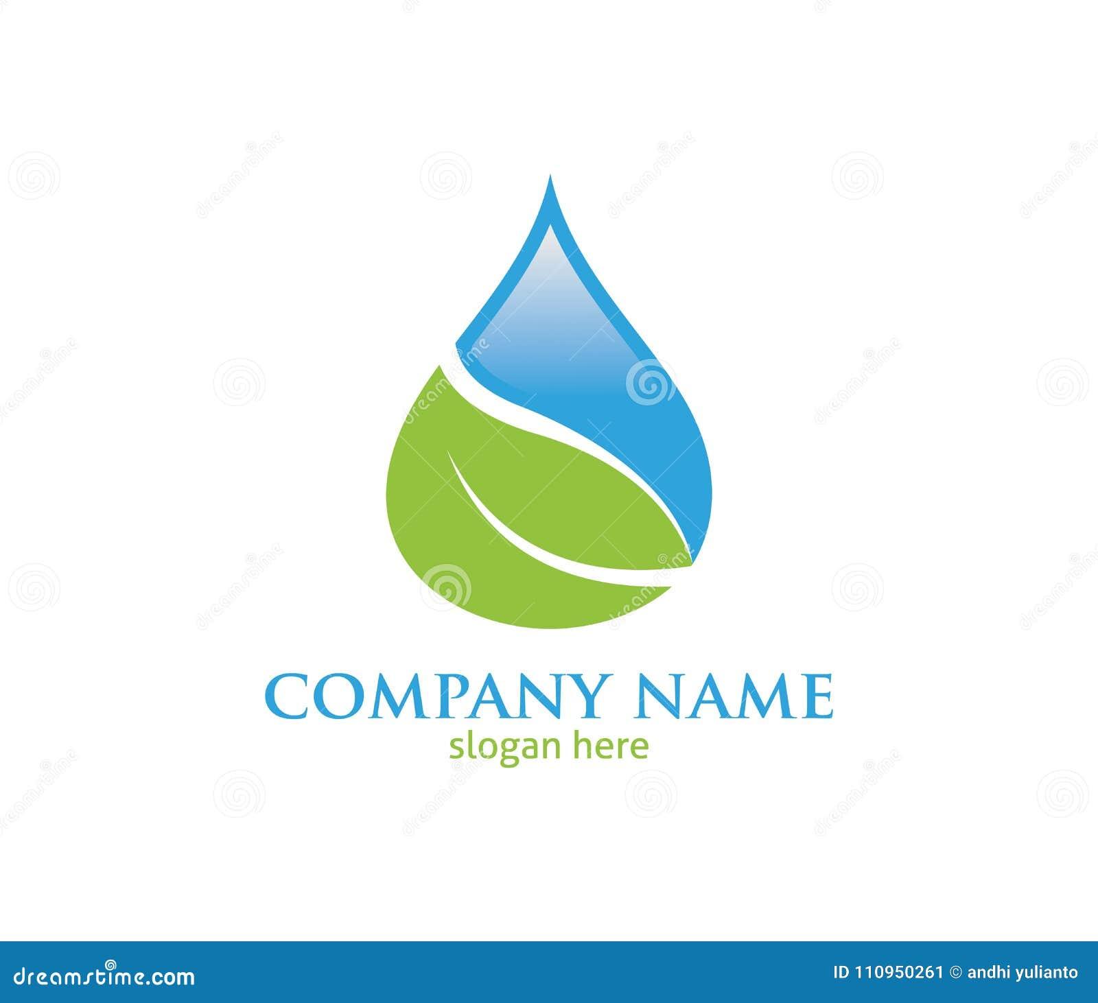 Water Drop Leaf Pure Source Vector Logo Design Stock Illustration