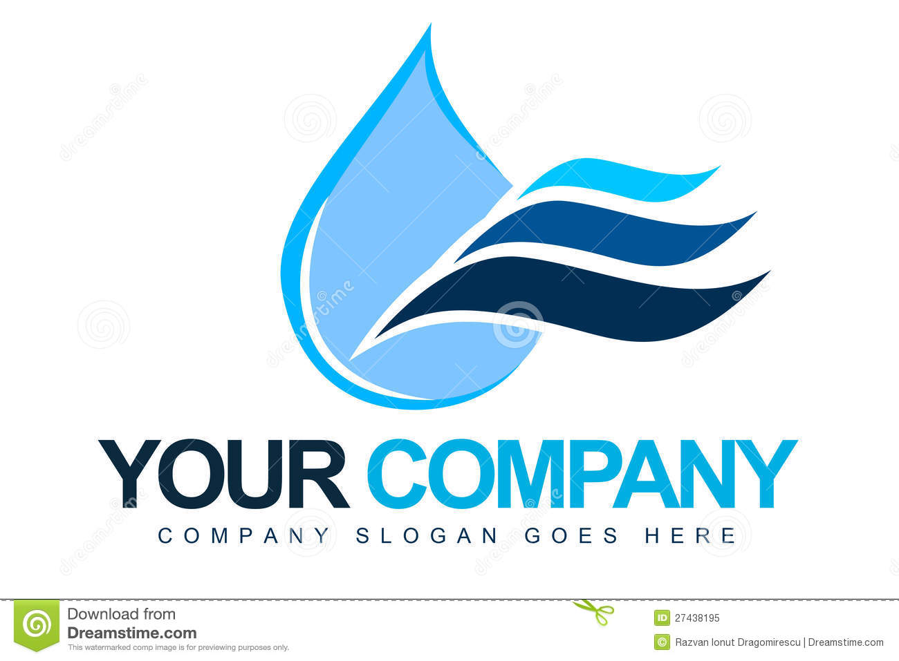 An illustration of a logo representing a blue water drop with waves ...