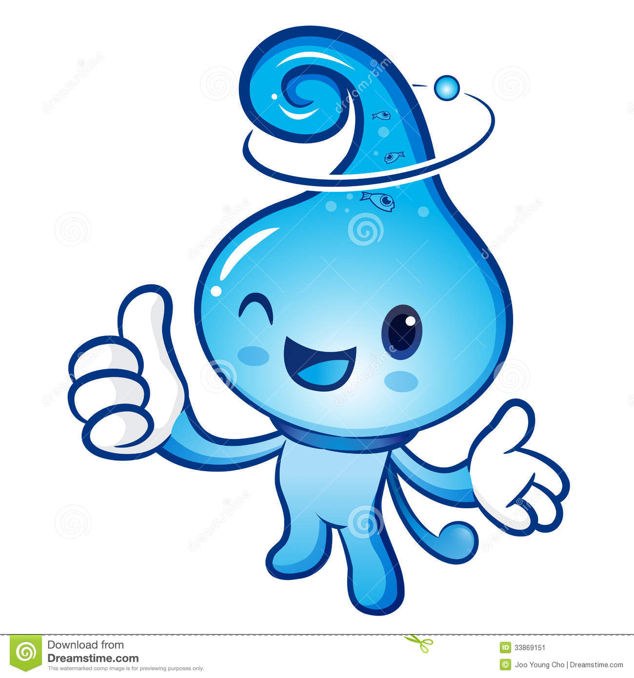 Best Cartoon Character Design : Water drop mascot the right hand best gesture and left