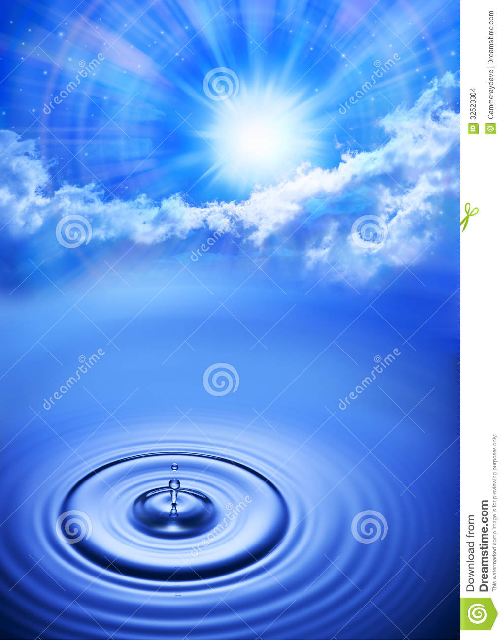 Water Drop Sky Sun Time Background