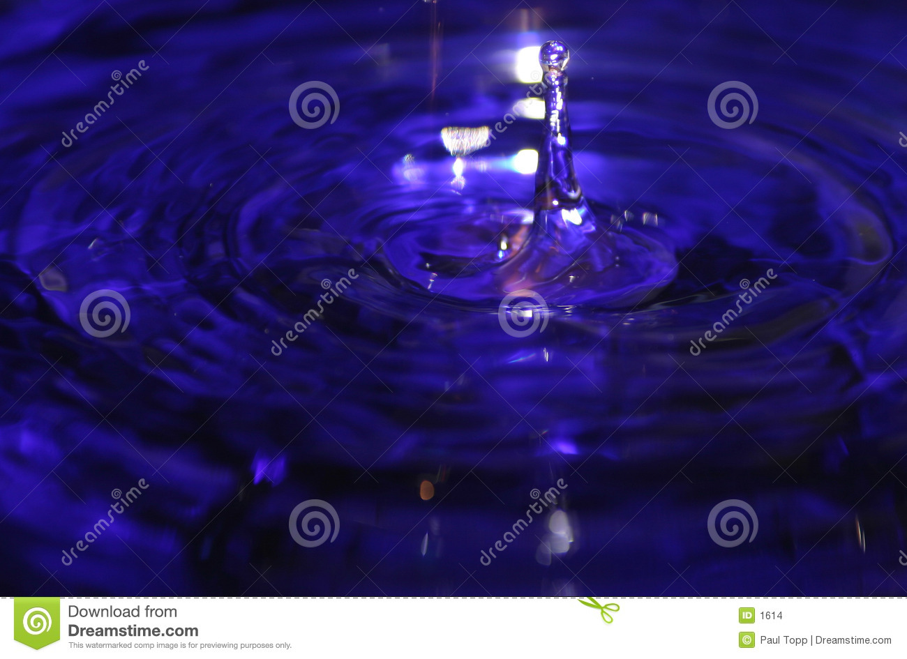 Water Drop Splash in Blue Liquid