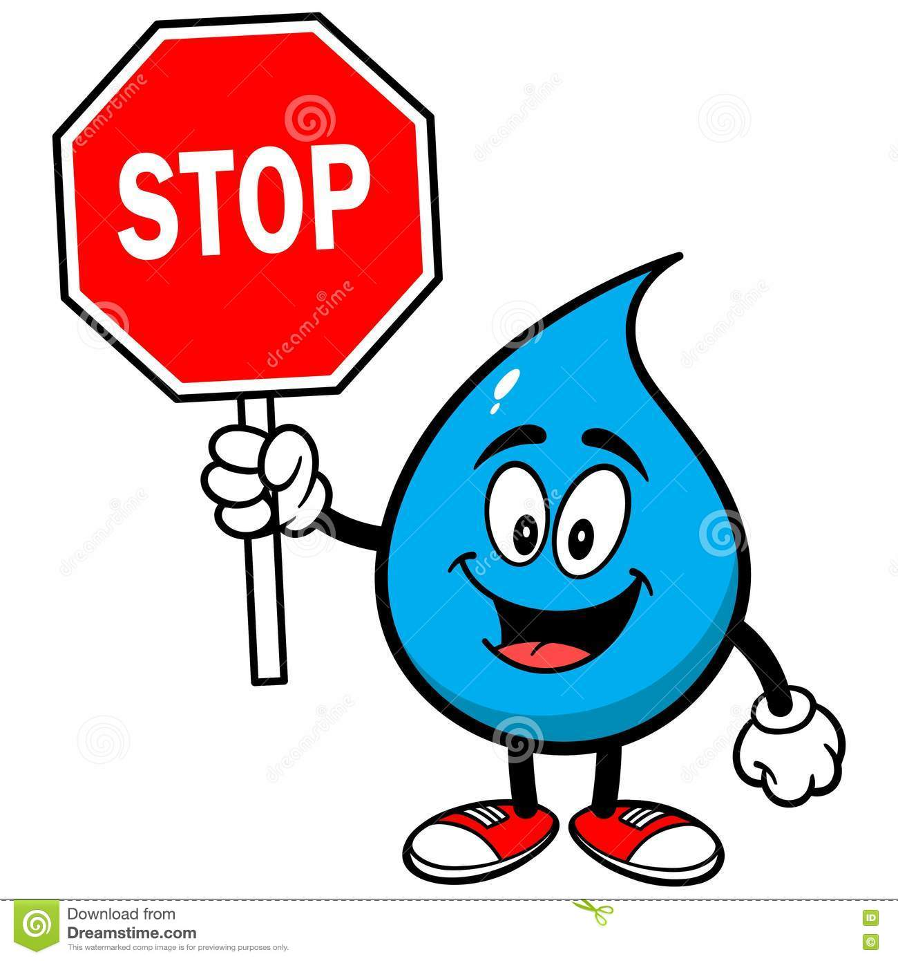 water drop with a stop sign stock vector illustration of