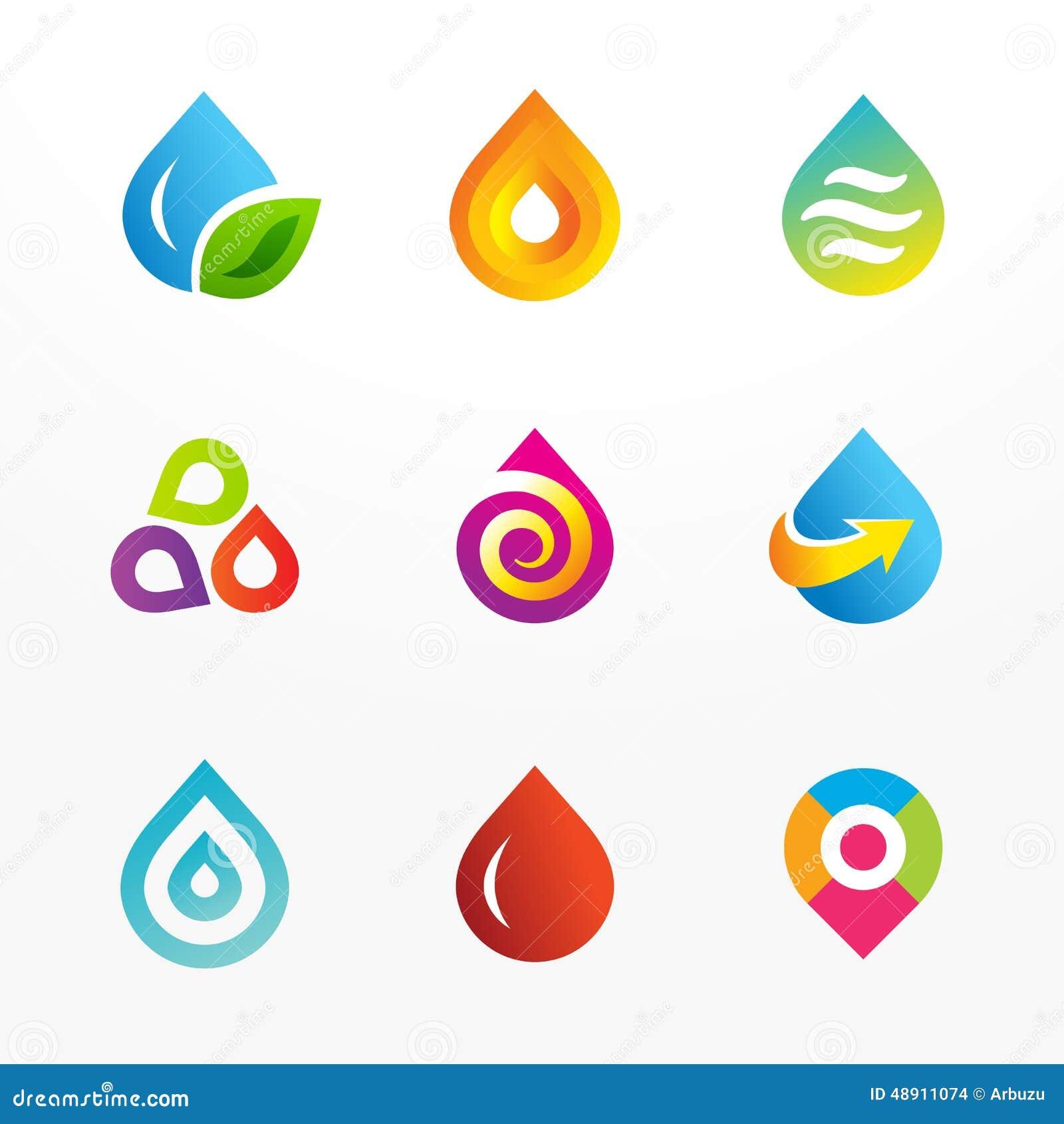 Water Drop Symbol Vector Logo Icon Set Stock Vector Illustration