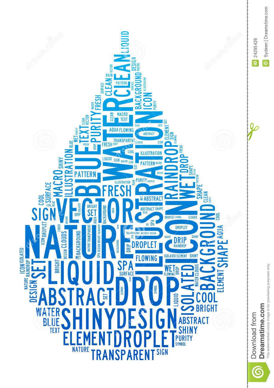 water drop text clouds royalty free stock image