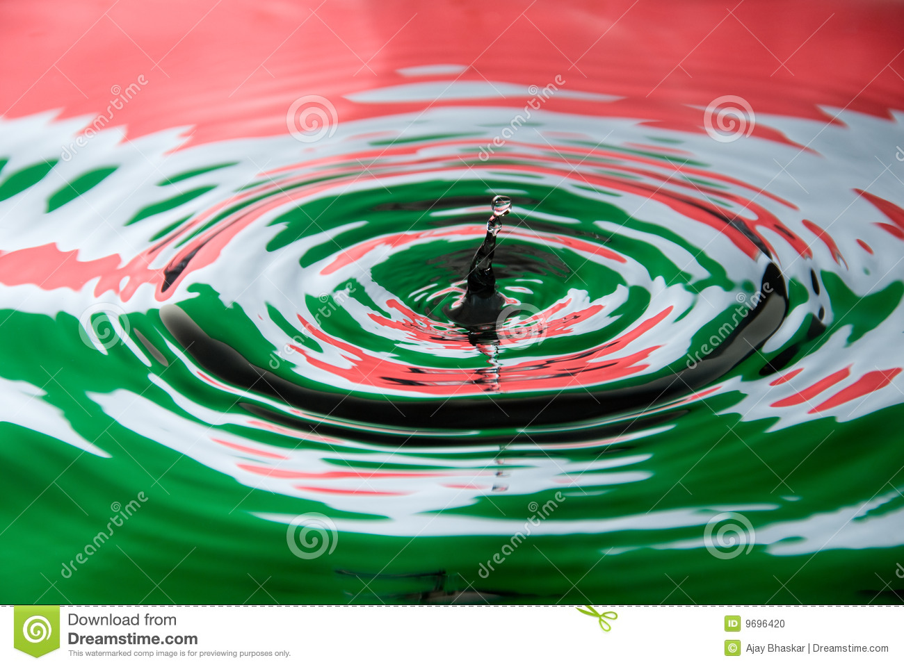 Water droplet against a Hungary flag