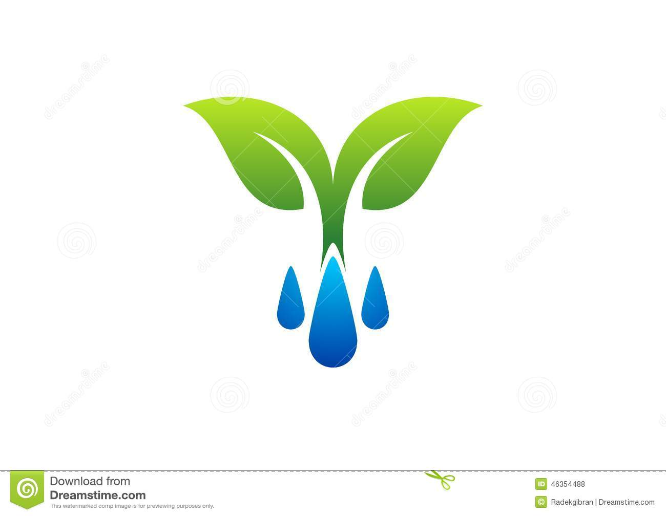 Stock Illustration Water Drops Logo Dew Plant Symbol Spring Icon Season Nature Image46354488 on Green Environmental Clip Art