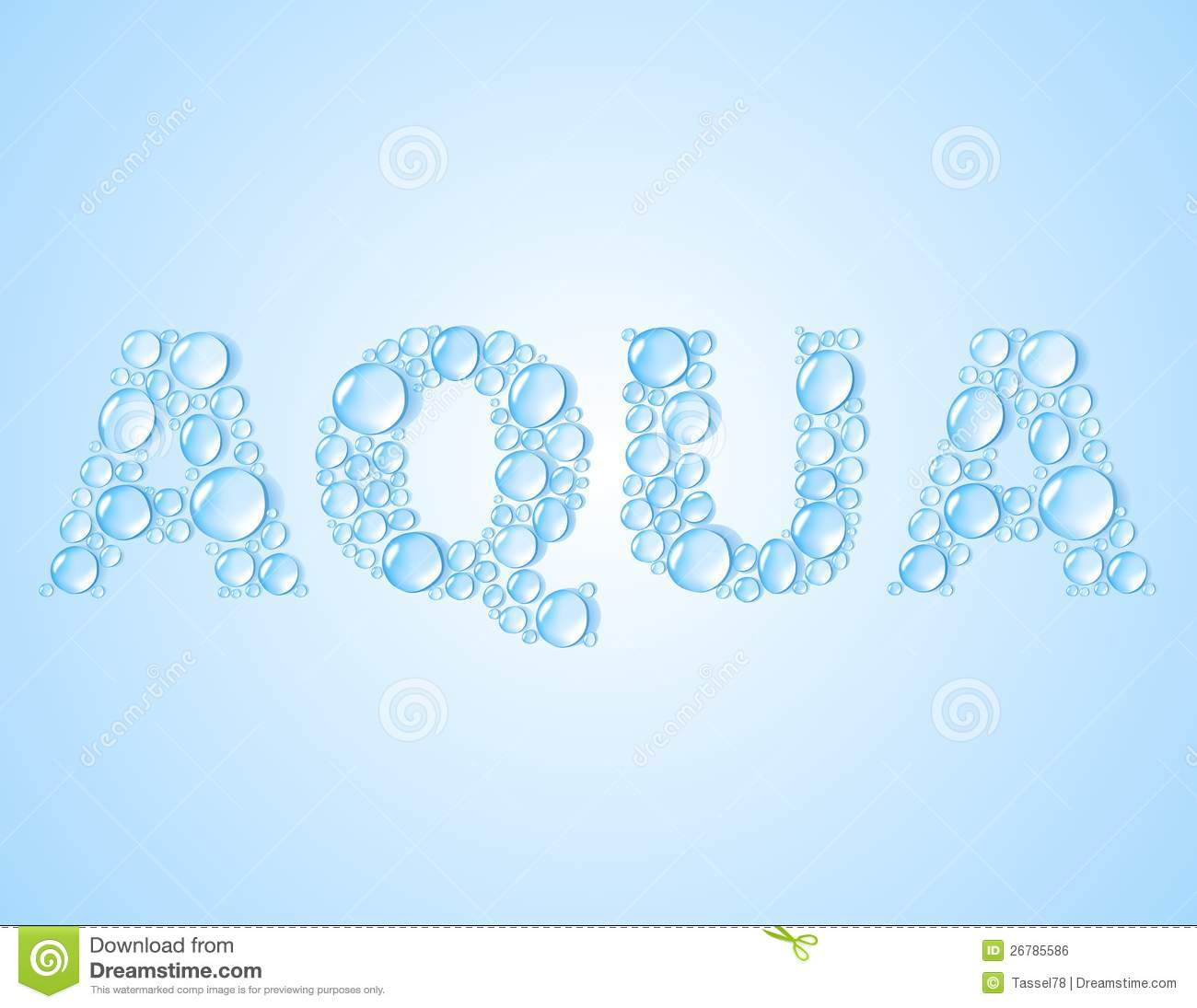 Water Drops Shaped Word Aqua Vector Background Royalty