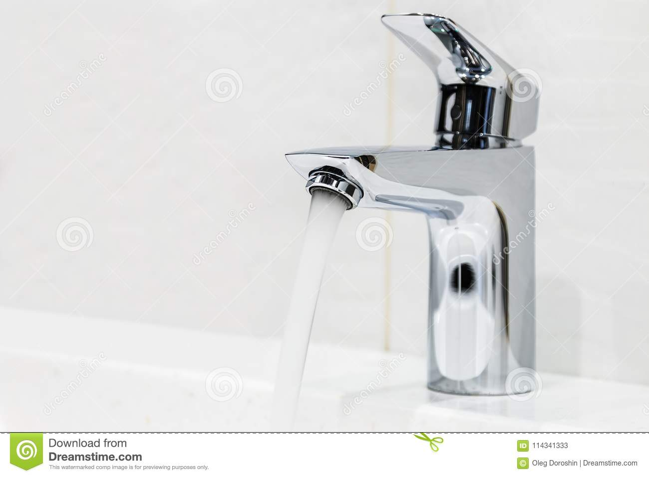 Water Faucet In The Bathroom Or Toilet Stock Image - Image of steam ...