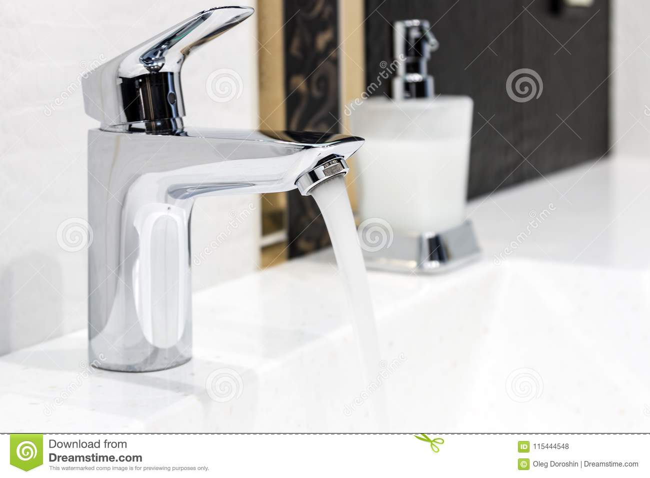 Water Faucet In The Bathroom Or Toilet Stock Photo - Image of ...