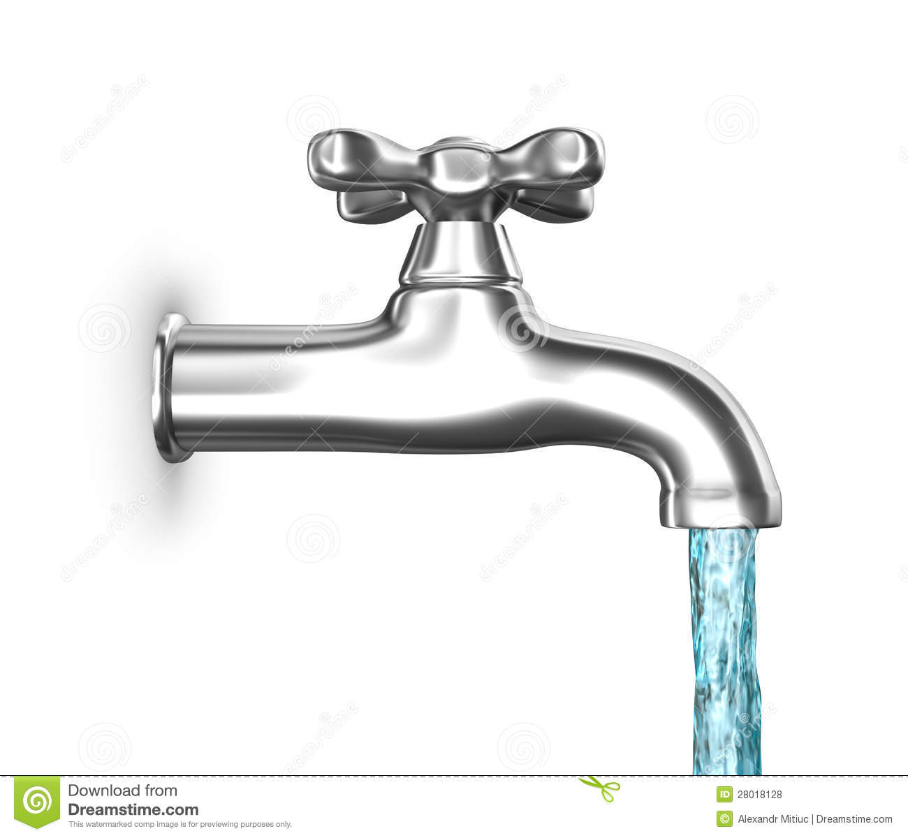Water Faucet With Flowing Water Isolated On White Stock