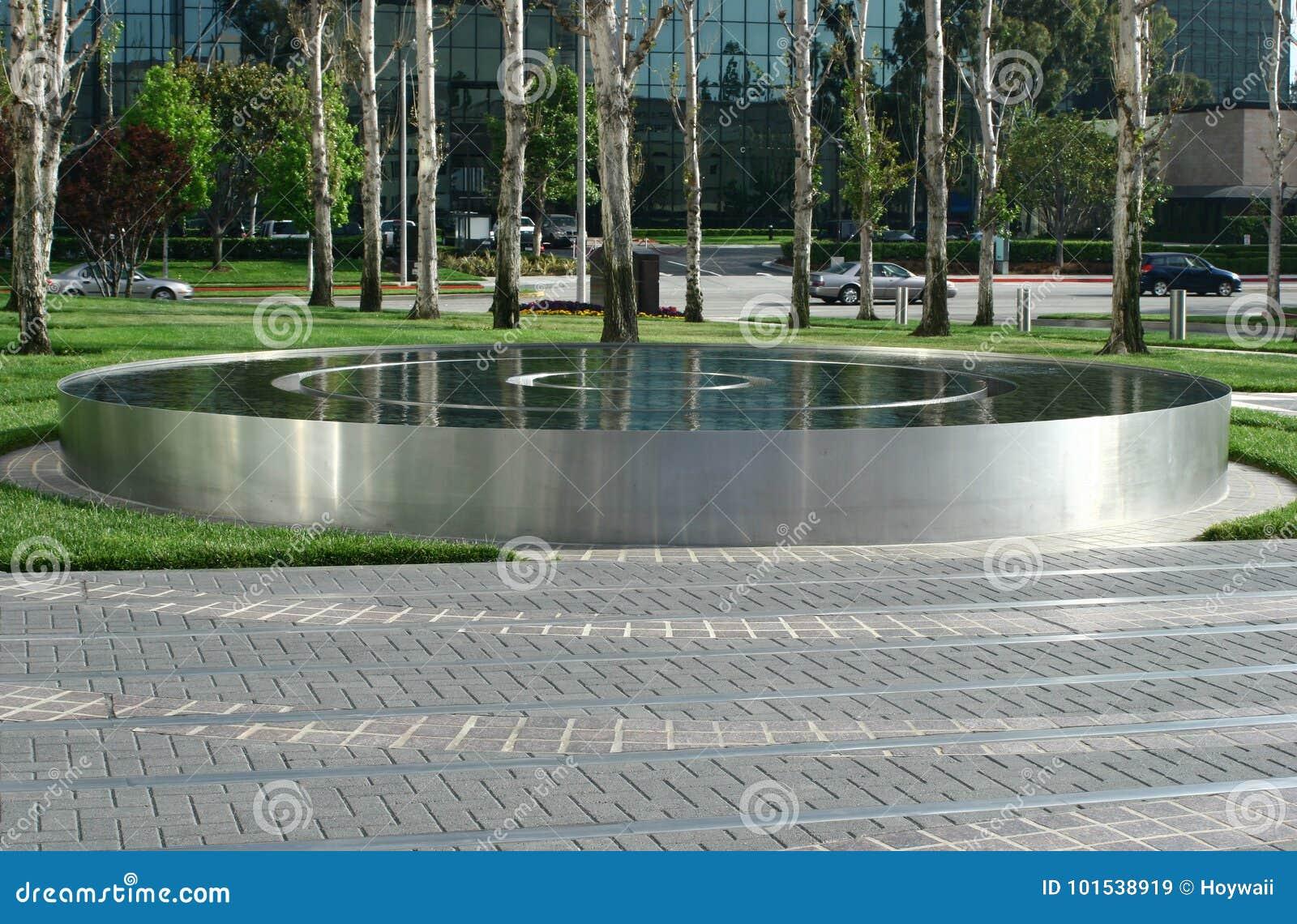 Circular Stainless Steel Reflecting Water Pool Editorial