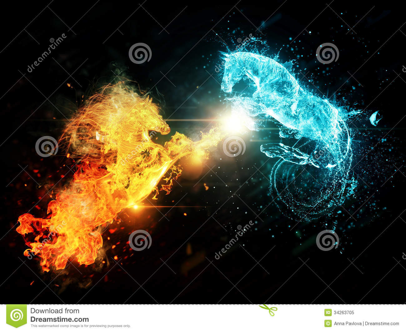 Water and fire horses stock illustration. Illustration of ...
