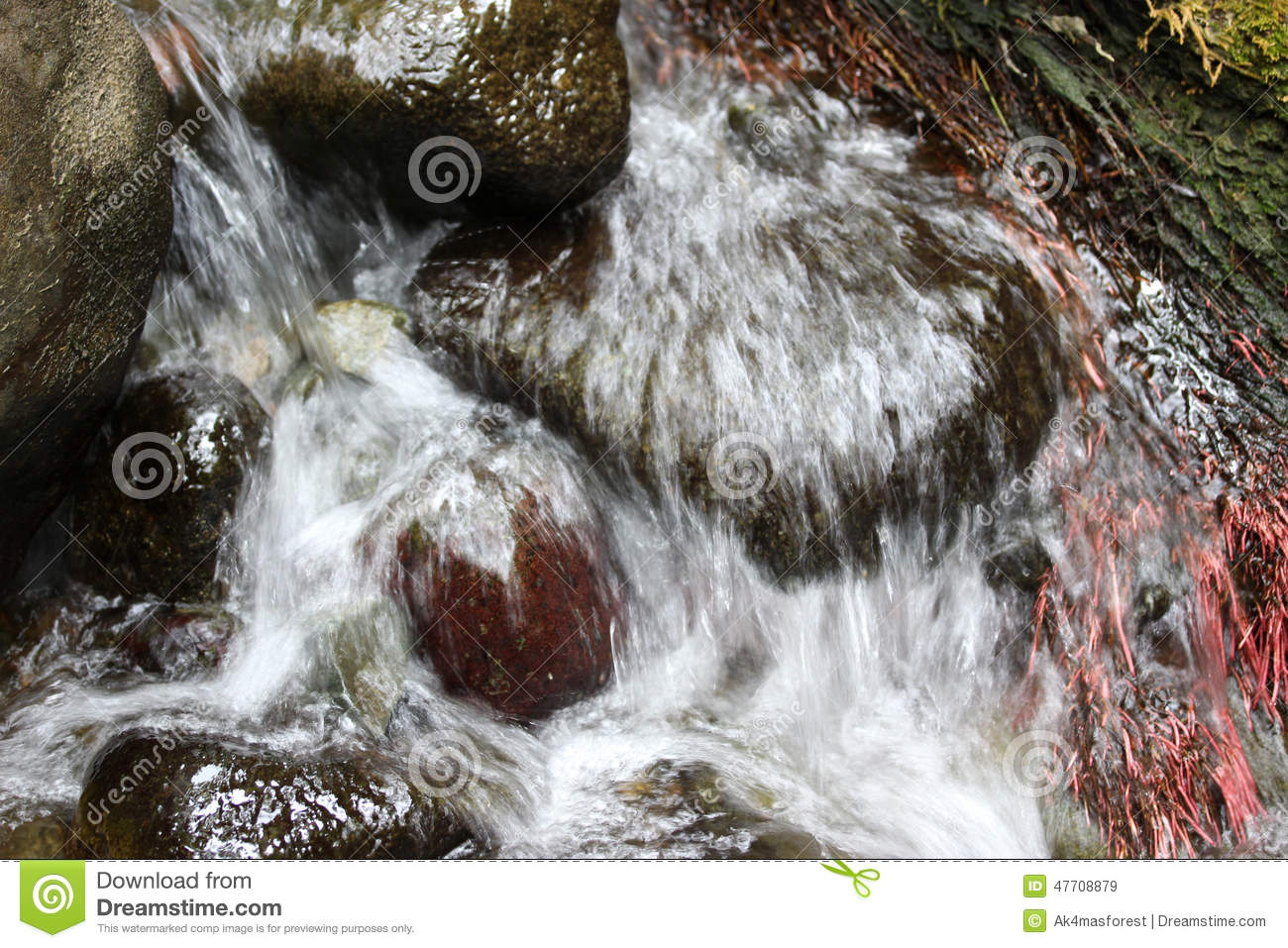 small waterfall on a creek small rocks and stones appear in the