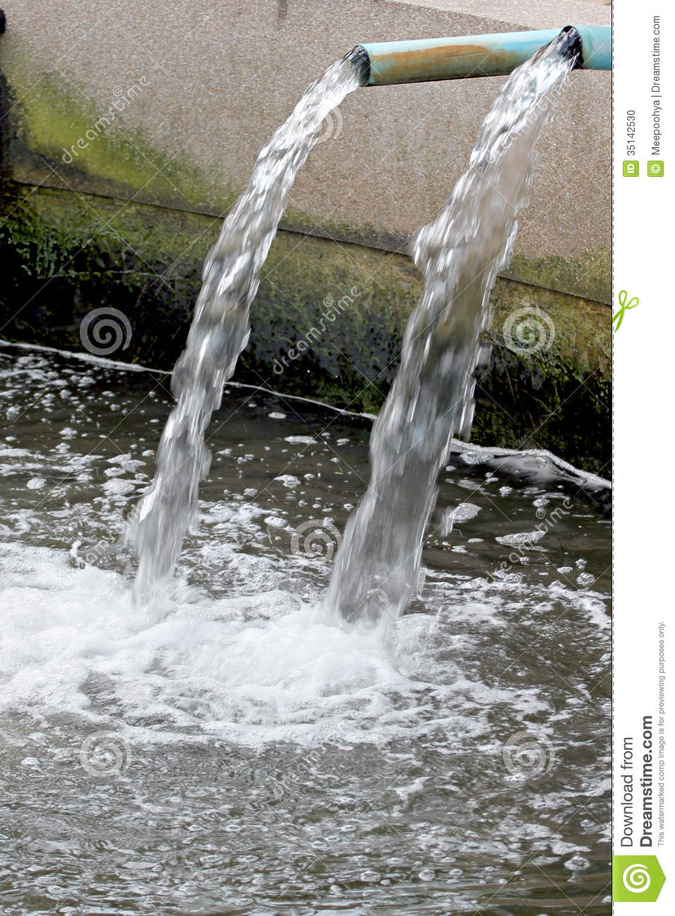 Water Flowing Out Of Pipe Stock Photo Image Of Trough