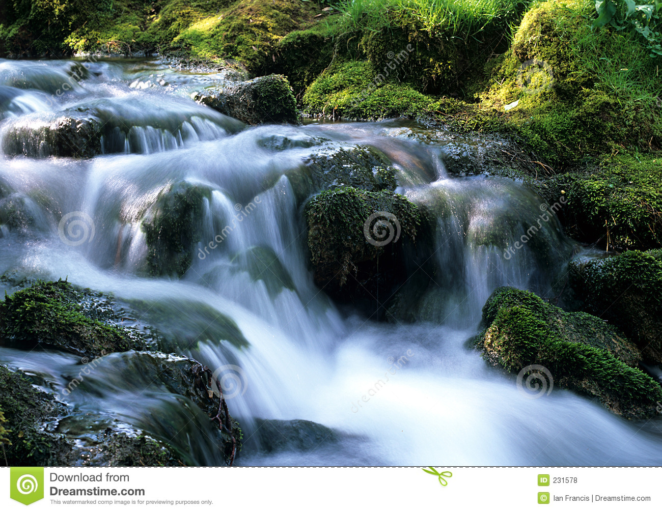 Water flowing over rocks in a small stream in derbyshire England (peak ...