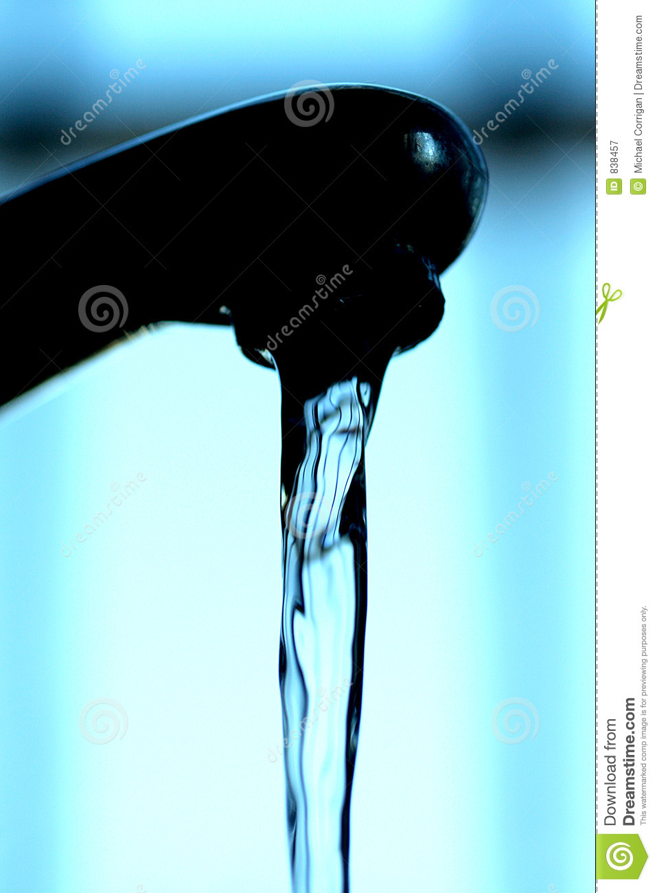 Water flowing from a tap