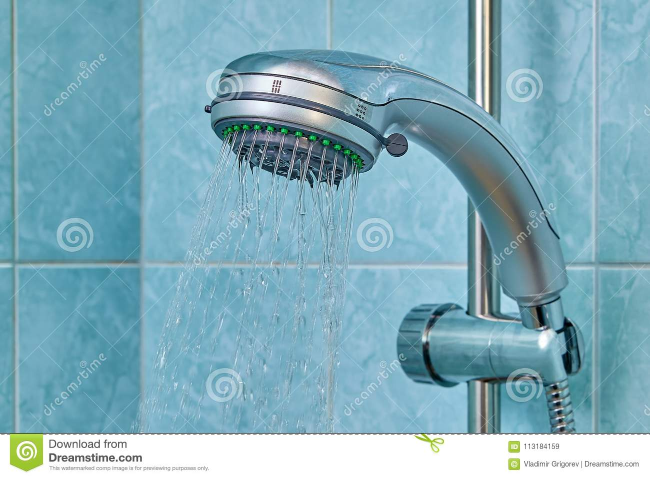 Water Flows From Shower Head Inside Bathroom, Fixed In Holder. Stock ...