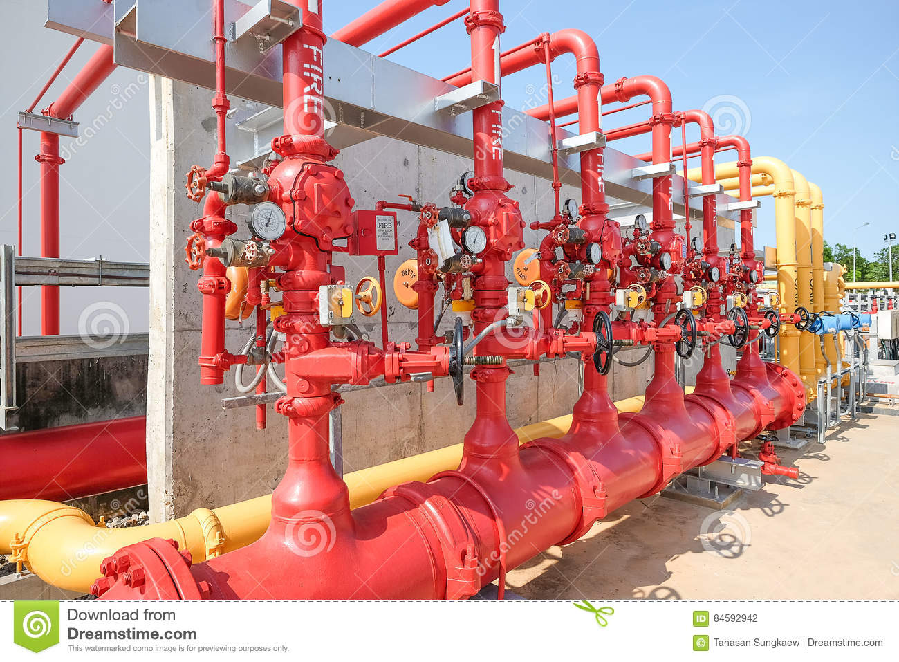 Water And Foam Line For Fire Protection System Stock Photo