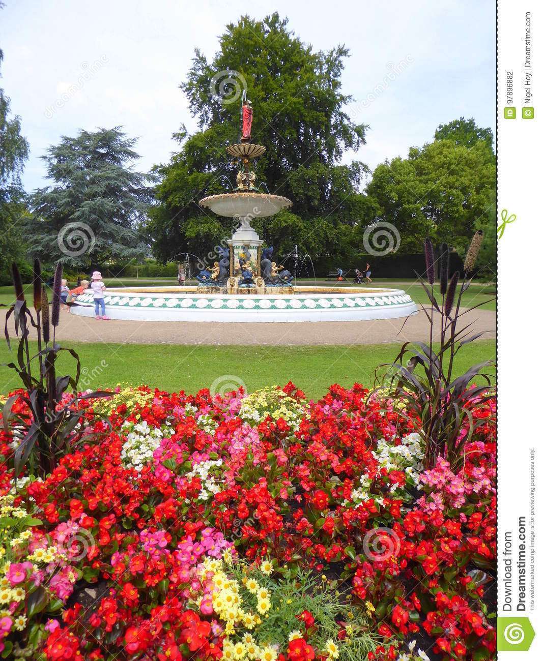 Water Fountain And Flower Garden Stock Photo Image Of Somerset