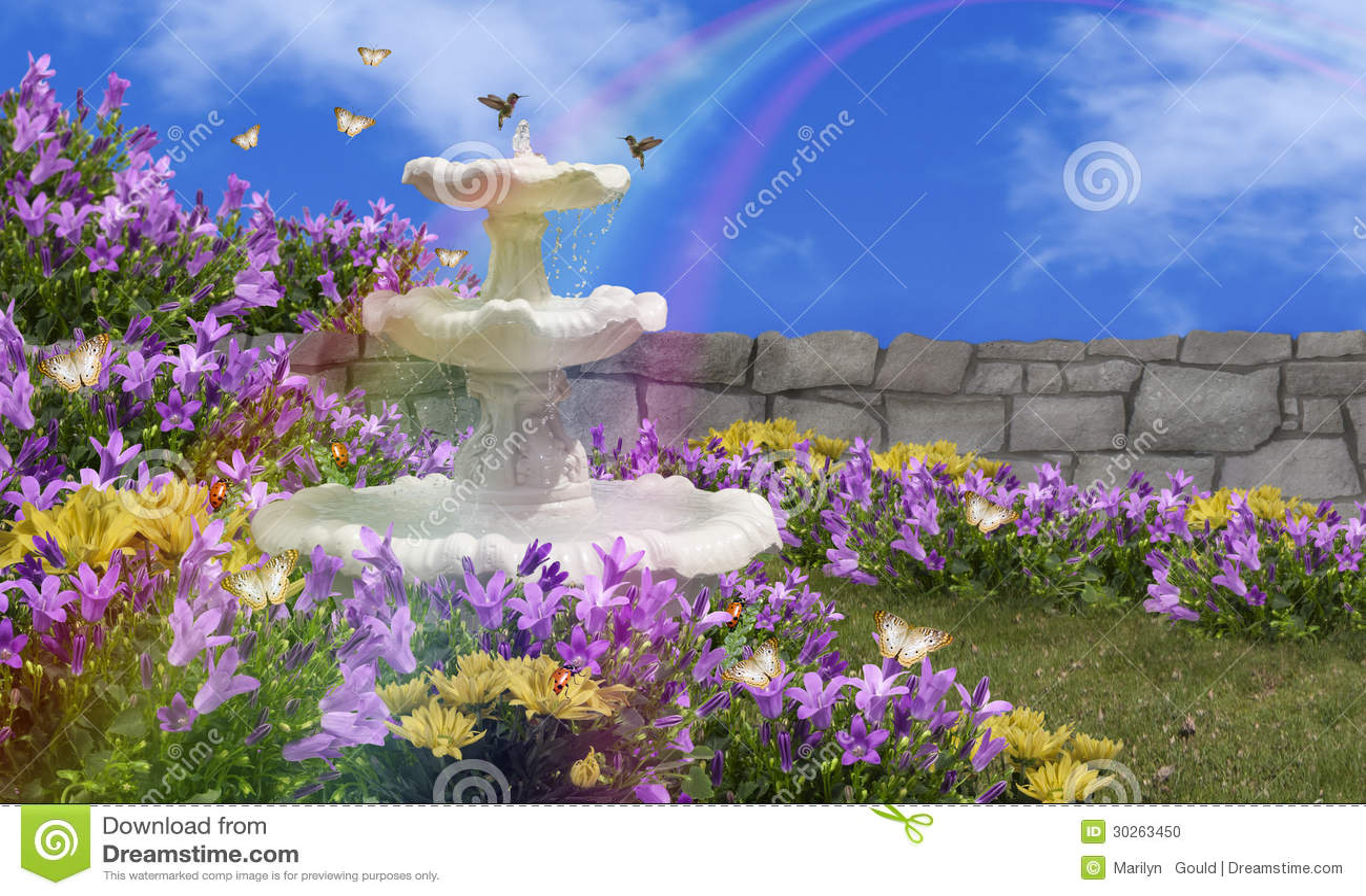 Water Fountain Garden Stock Photo Image Of Wall Hummingbirds