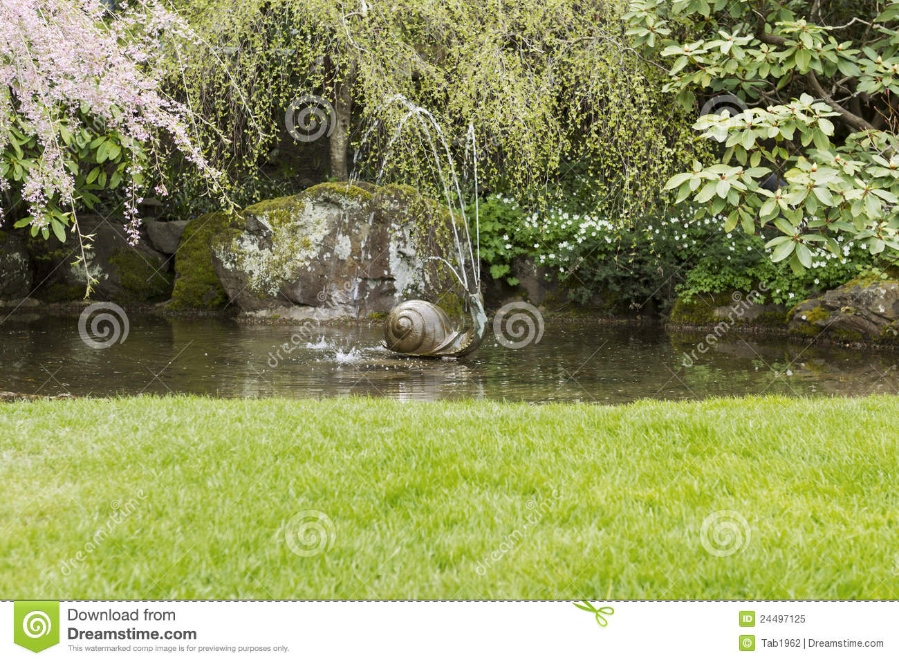 Water fountain in garden pond stock image image 24497125 for Garden pond unlimited