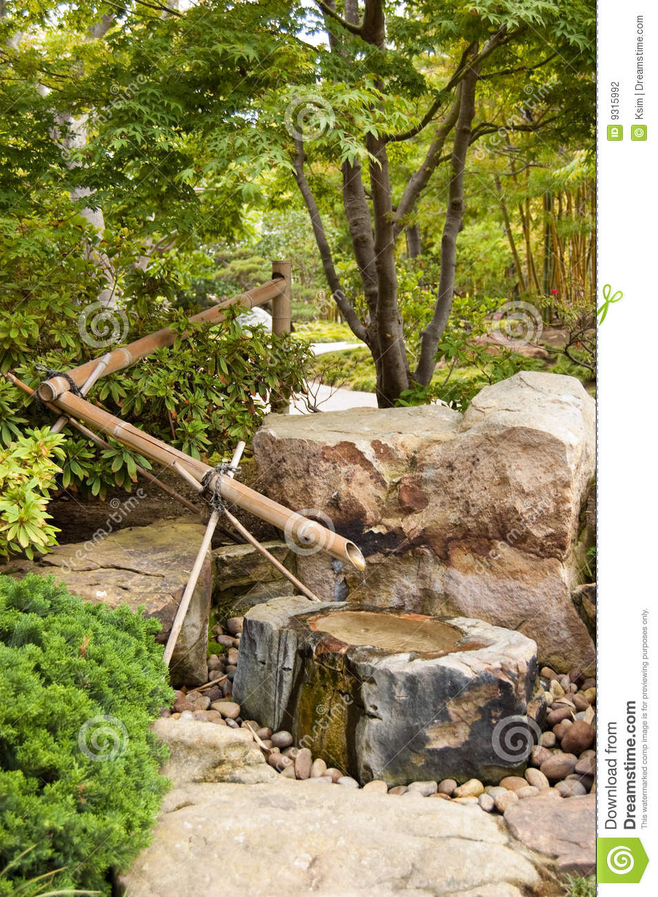 Water Fountain In Japanese Garden Stock Photo - Image of peaceful ...