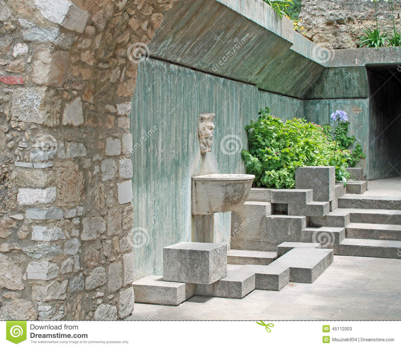 Stock photos water fountain wall outdoor image 45112003 for Feature wall exterior