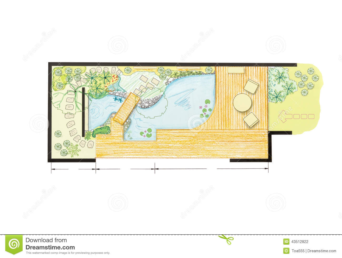 Water Garden Design Plan Stock Illustration Image 43512822