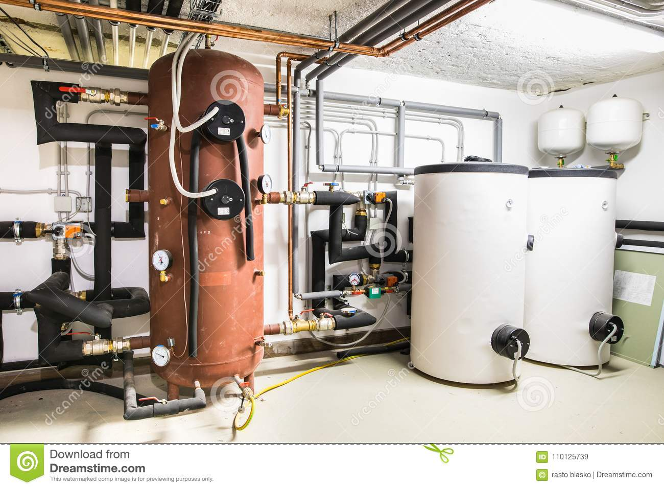 Boilers And Heating System With Regulation Stock Image - Image of ...