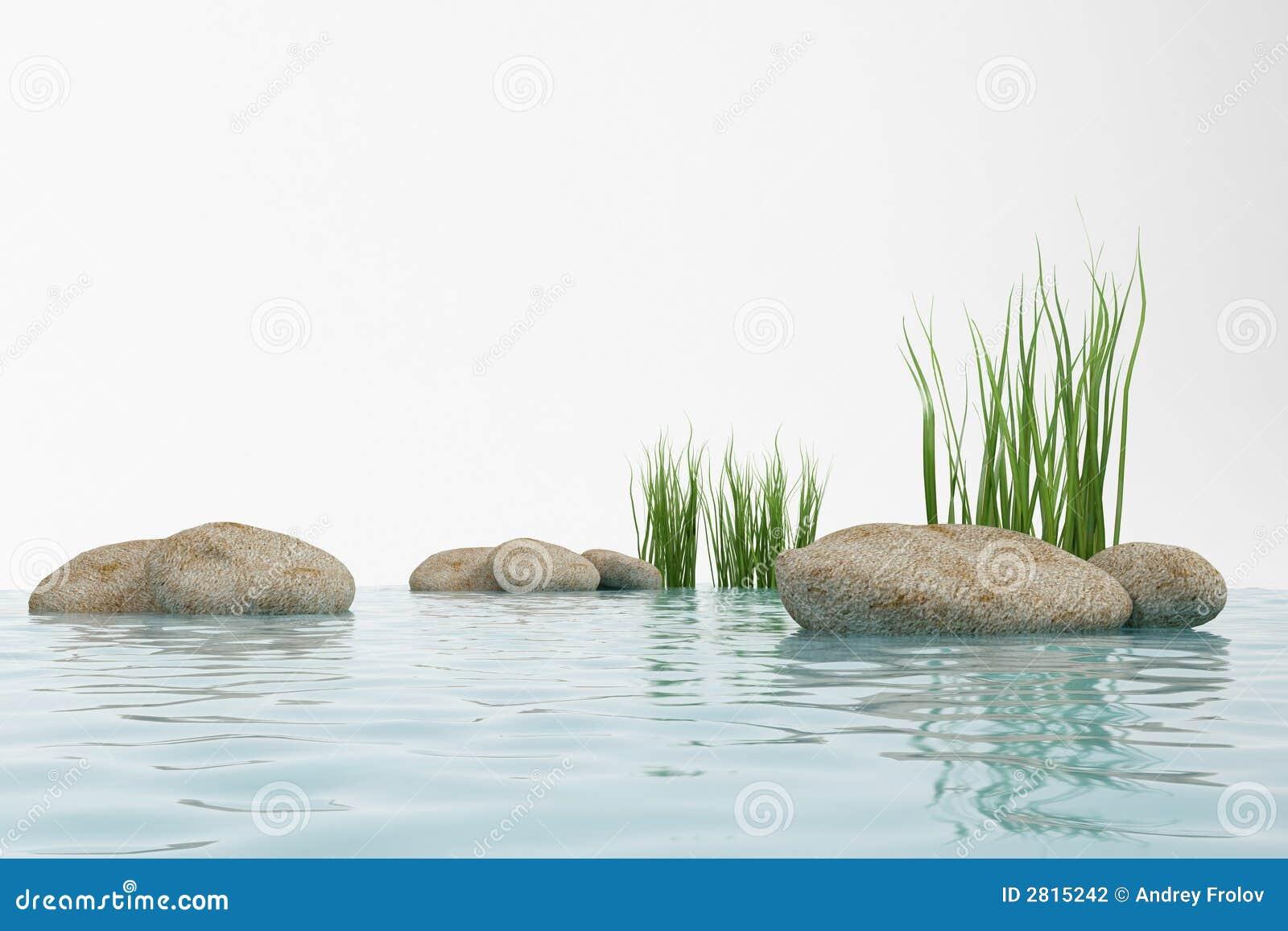 Water, gras en steen