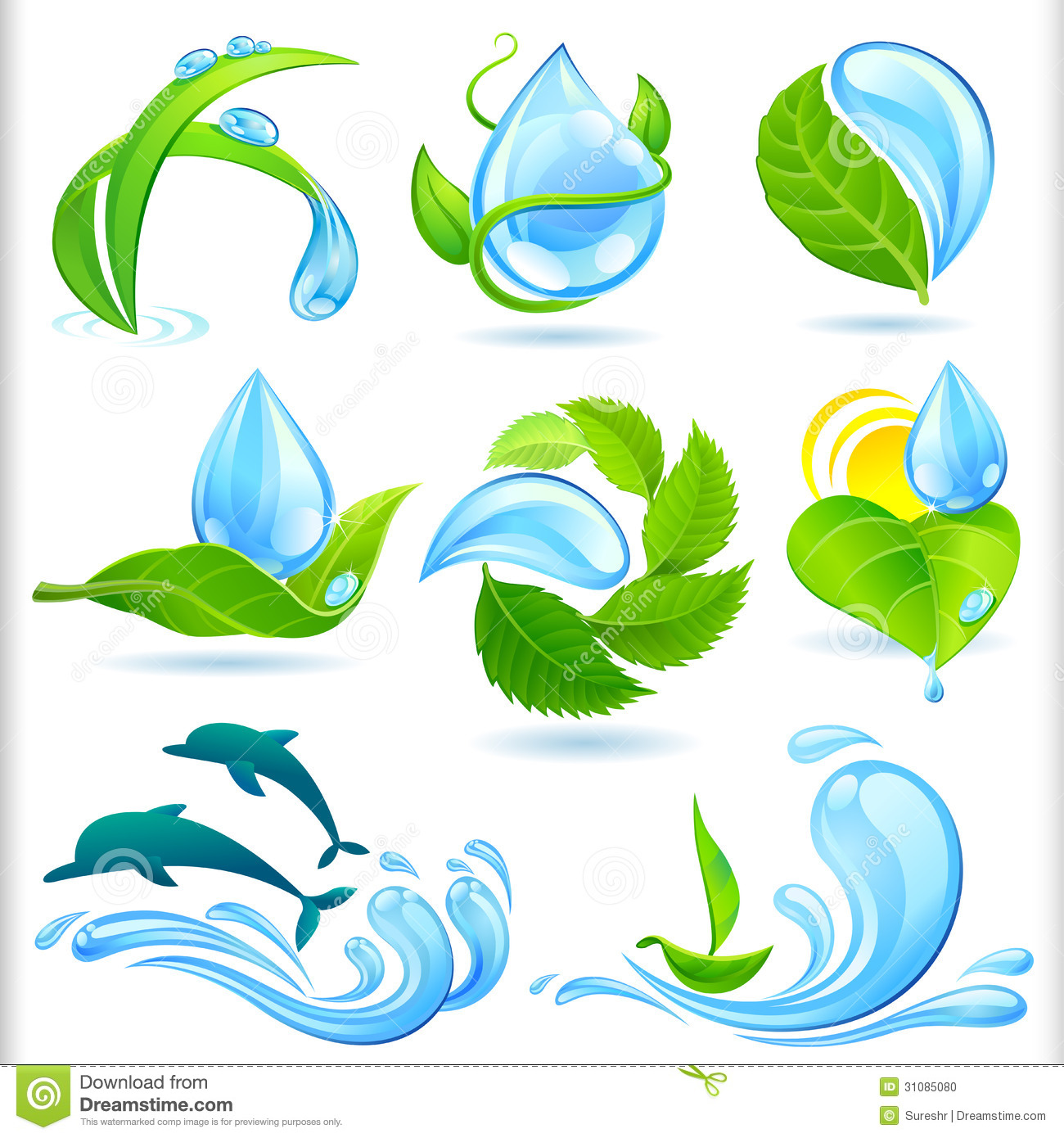 Water And Green Nature Symbols Set Stock Vector - Image ...
