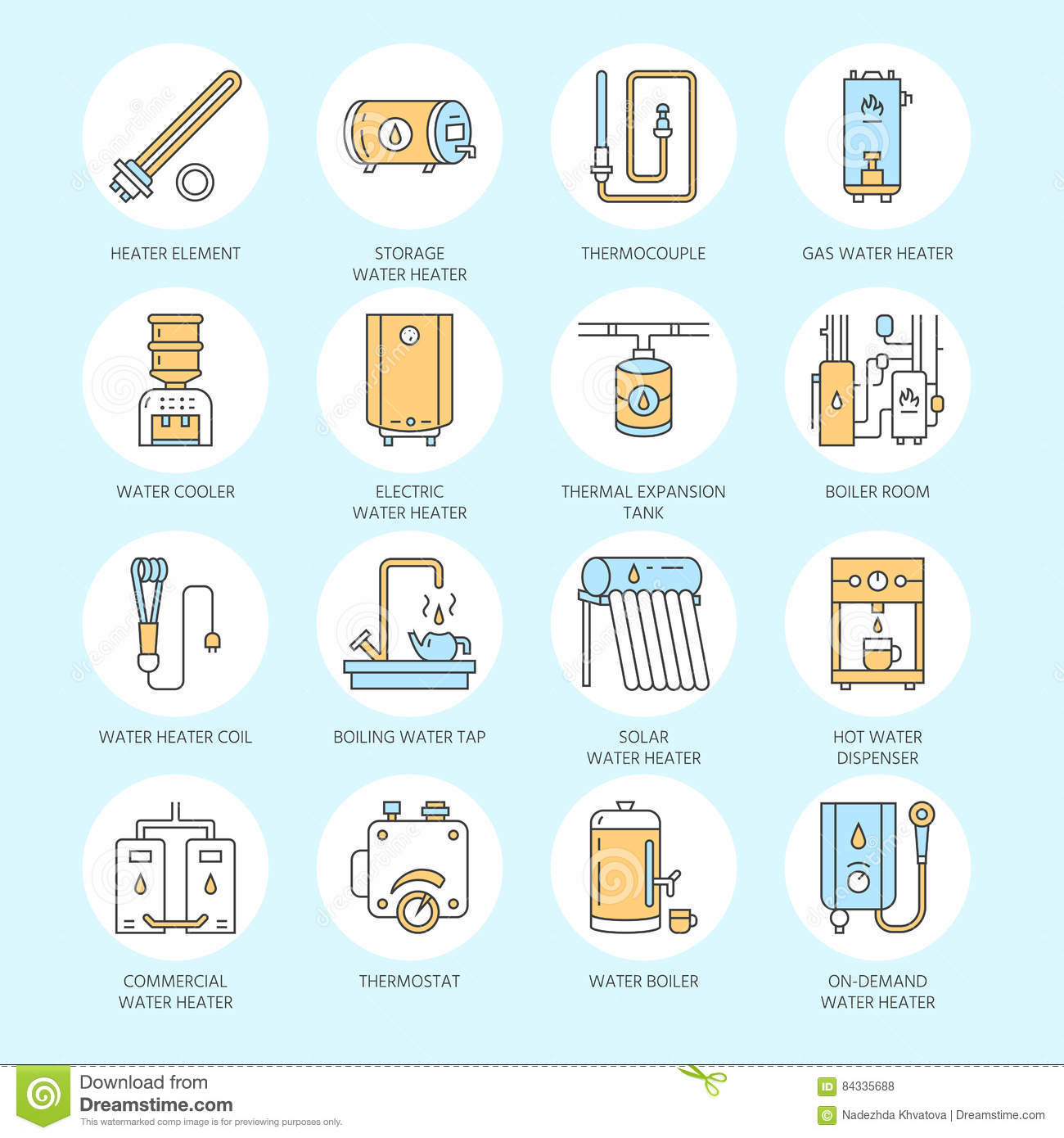 Water heater, boiler, thermostat, electric, gas, solar heaters and other house heating equipment line icons. Thin linear
