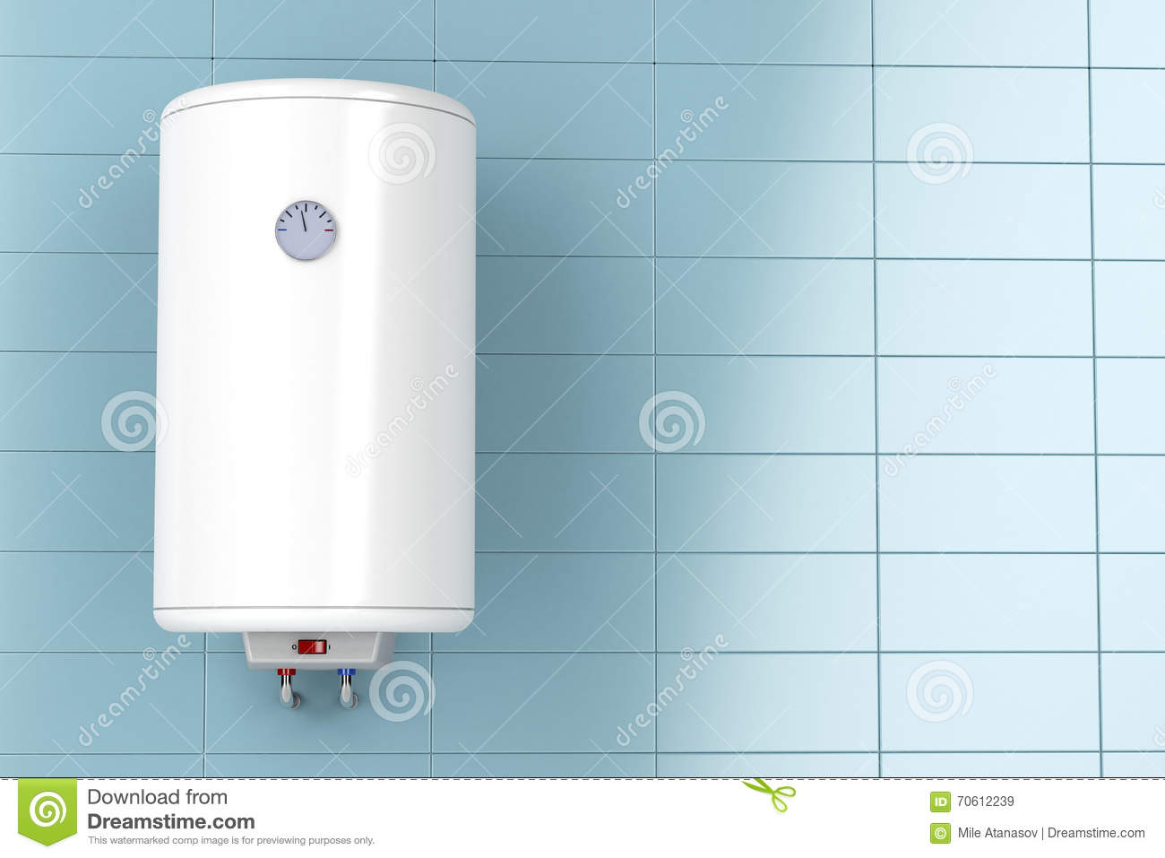 Electric Boiler Wall Water Heater In Bathroom Stock Image 85349371